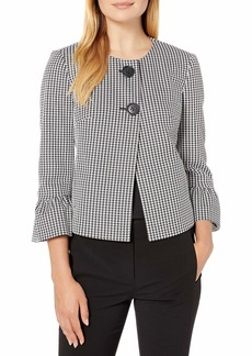 Nine West Women's Houndstooth 2 Button Bell Sleeve Jacket  L