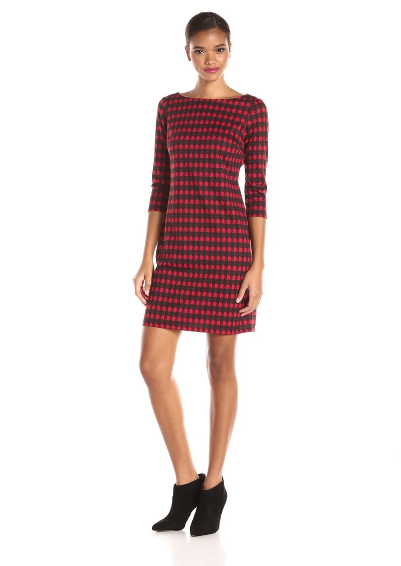Nine West Women's Houndstooth Printed Ponte T-Shirt Dress