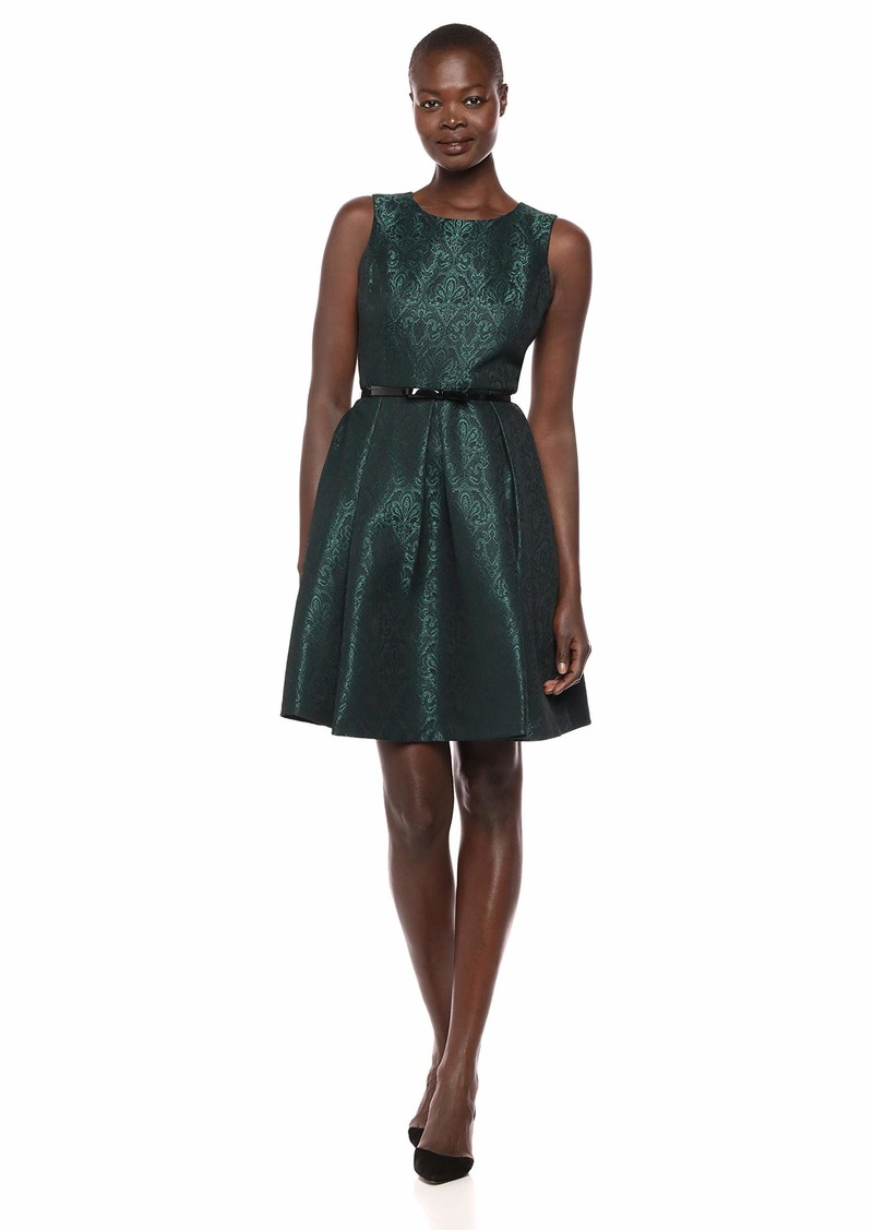 Nine West Women's Jacquard Crew Neck Fit and Flare Dress with Belt