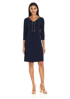 Nine West Women's Jersey 3/ SLV V-Neck Dress with Grommet and Chain Detail