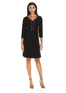 Nine West Women's Jersey 3/4 Slv V-Neck Dress with Grommet and Chain Detail