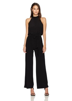 Nine West Women's Jersey Jumpsuit W/Self Sash and Emnellished Mock Neck