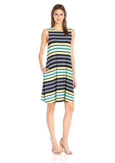 Nine West Women's Jersey Sleeveless Trapeze Dress