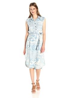 Nine West Women's Kasia Popover Sleeveless Shirt Dress  L