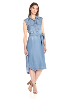 Nine West Women's Kasia Popover Sleeveless Shirt Dress  L