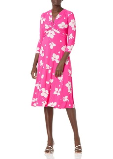 NINE WEST Women's Knot Front Midi Dress Pink Punch/Tutu S