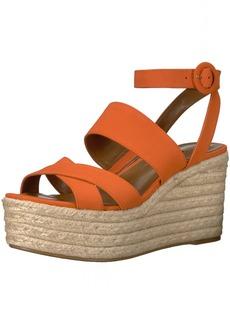 Nine West Women's KUSHALA Nubuck Wedge Sandal Orange