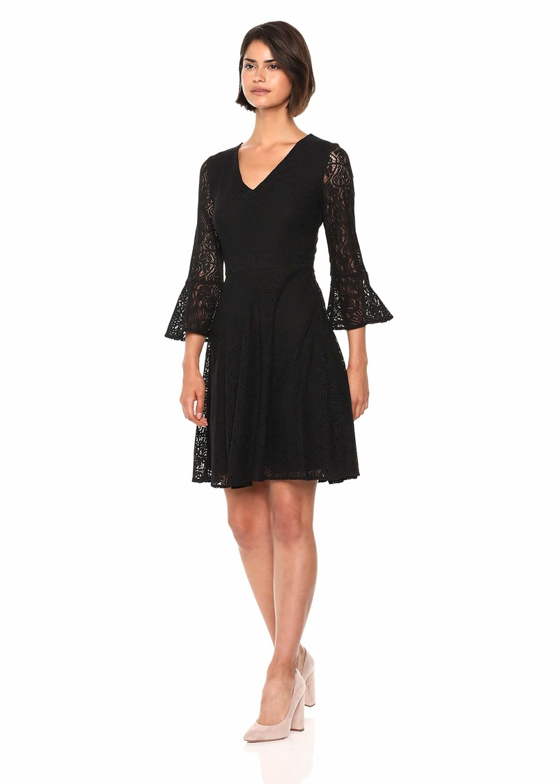 Nine West Women's Lace 3/ Bell Sleeve V-Neck Fit & Flare Dress