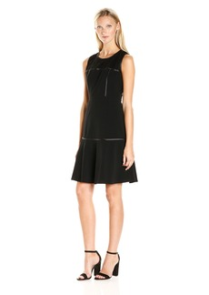 Nine West Women's Lace Overlay/ Flared Bottom Dress