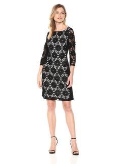Nine West Women's LACE Ponte Combo Dress