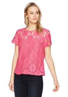 Nine West Women's Lace Short Sleeve Blouse  L