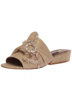 Nine West Women's LAFAY Linen Slide Sandal Gold