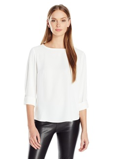 Nine West Women's Light Weight Crepe 1 Pocket Blouse  S