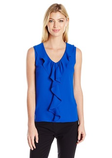 Nine West Women's Light Weight Crepe Ruffle Front Cami (2)  L