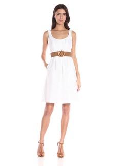 Nine West Women's Linear Burnout Topstitch Dress with Pleats