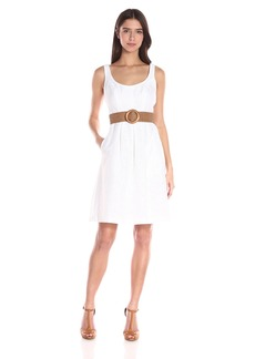 Nine West Women's Linear Burnout Topstitch Dress with Pleats