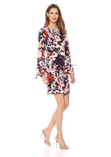 Nine West Women's Long Puff Sleeve Floral Printed T-Shirt Dress
