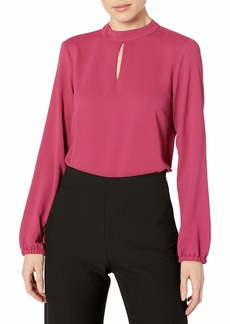 NINE WEST Women's Long Sleeve Blouse with Keyhole  S