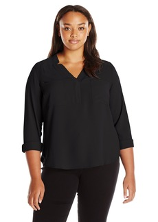 Nine West Women's Long Sleeve Crepe Top with Pockets  M
