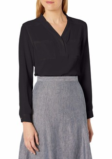 NINE WEST Women's Long Sleeve Crepe Top with Pockets  Extra Large