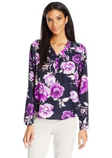 Nine West Women's Long Sleeve Floral Blouse  M