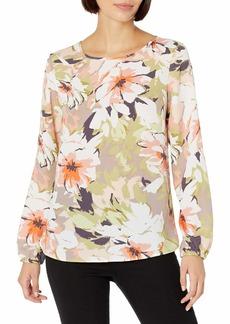 NINE WEST Women's Long Sleeve Jewel Neck Printed Floral Blouse