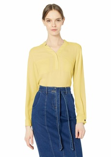 NINE WEST Women's Long Sleeve Light Weight Crepe Two Pocket Blouse  L