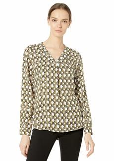 Nine West Women's Long Sleeve Printed V-Neck Blouse  XS