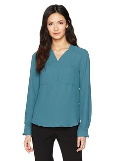 Nine West Women's Long Sleeve Solid Crepe 2 Pocket Blouse  XS