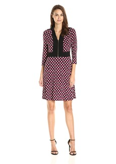 Nine West Women's Long Sleeve//Collar//Combo Dress