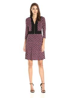 Nine West Women's Long Sleeve//Collar//Combo Dress