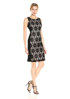 Nine West Women's Medalion Lace Jersey Combo Sleeveless Dress