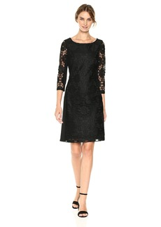 Nine West Women's Medallion Lace/Ponte Combo 3/4 Sleeve Dress