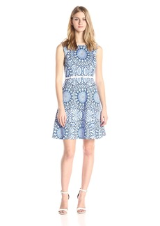 Nine West Women's Medallion Print Sleeveless Cotton Sateen Belted Dress