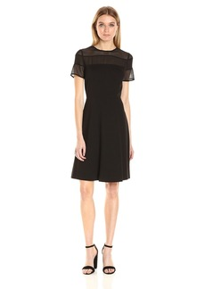 Nine West Women's Mesh/Ponte Combo Dress Withflared Skirt