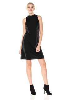 Nine West Women's Metallic a Line Mock Dress with Tie AT Back Neck