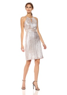 Nine West Women's Metallic Crinkle Dress with Shirred Waist and Neckline Cutout