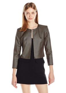 Nine West Women's Metallic Jacquard Flyaway Jacket