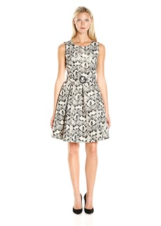 Nine West Women's Metallic Jacquard Self Belt Fit and Flare Dress