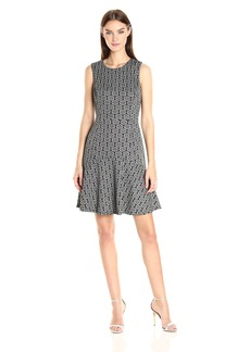 Nine West Women's Metallic Knit Princess Seam Dress W/Flared Bottom