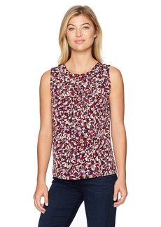 Nine West Women's Mini Abstract Ity Pleat Neck Blouse  S