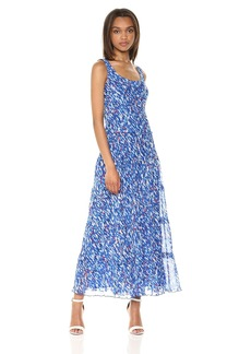 Nine West Women's Multi Tier Chiffon Maxi Dress Royal Blue/Ivory