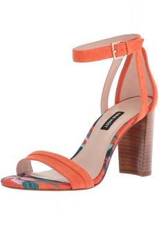 Nine West Women's NIRMALA Suede Heeled Sandal Orange