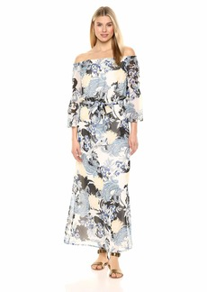 Nine West Women's Off The Shoulder Bell Sleeve Maxi Dress
