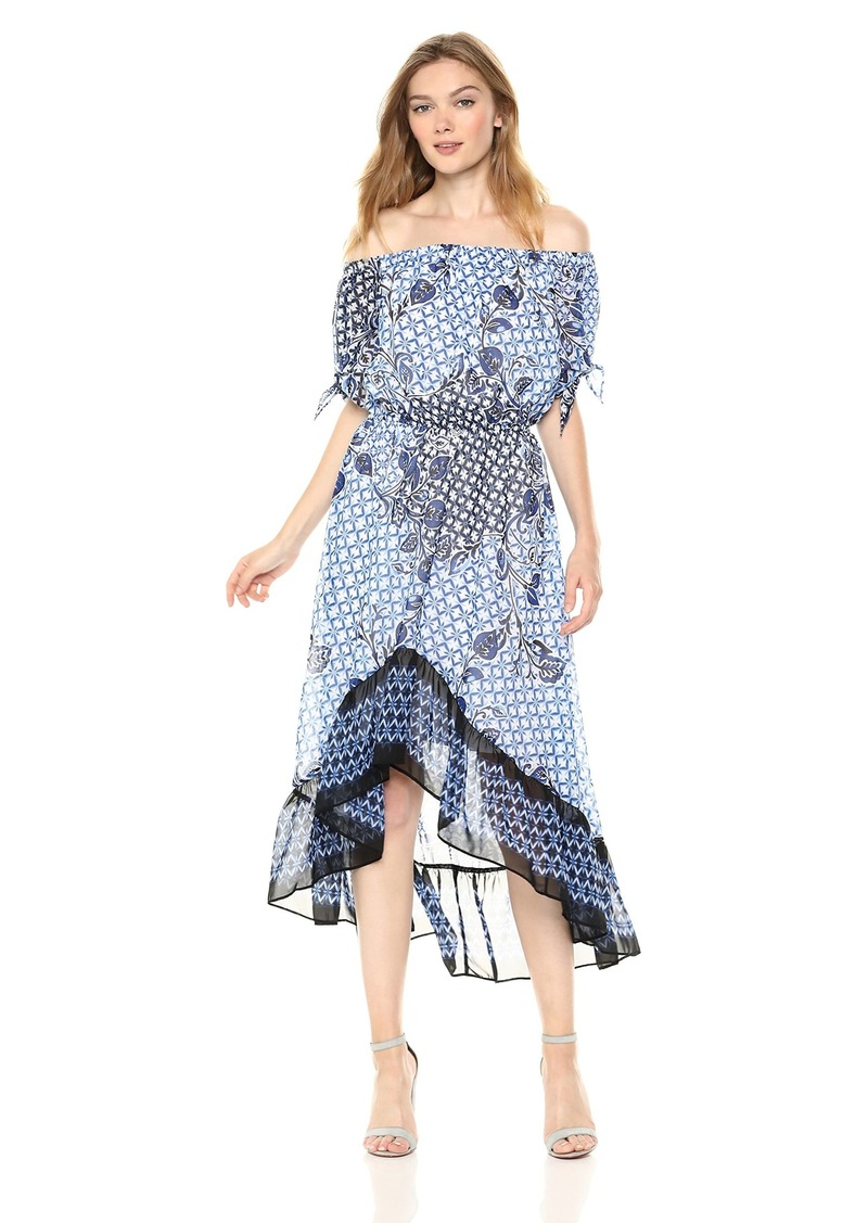 Nine West Women's Off The Shoulder HIGH-Low Dress with Sleeve TIE Detail