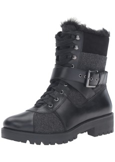 Nine West Women's Orithna Leather Boot black/Grey Heathered Wool  M US