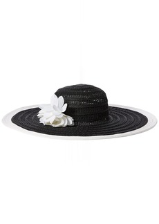Nine West Women's Packable Super Floppy Hat with Flower BLK/White