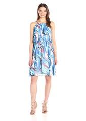 Nine West Women's Painted Wave Chiffon Dress with Shirred Waist