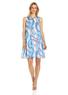 Nine West Women's Sleeveless Chiffon Trapeze Dress