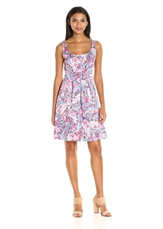 Nine West Women's Paisley Cotton Fit and Flare Dress